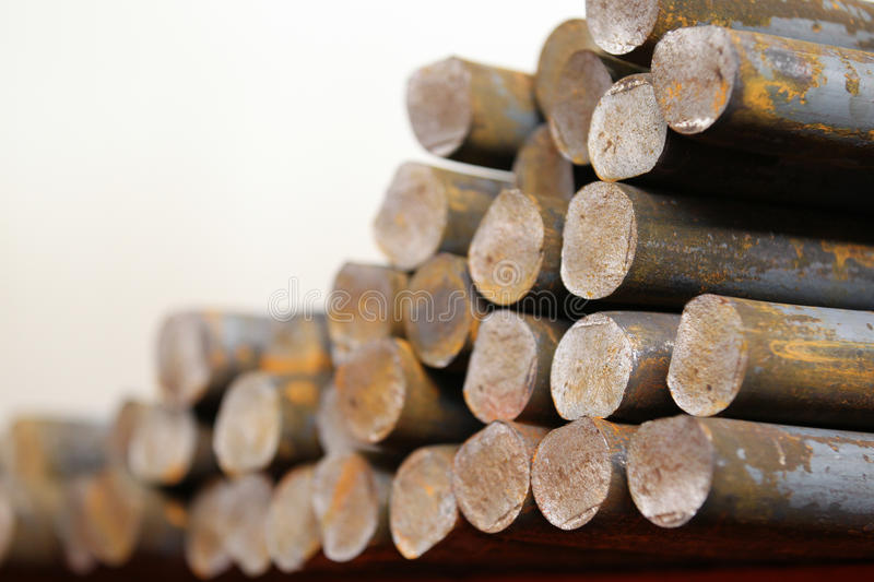 Round billet rods. Round billet in the rod as a basis for future redistribution stock image