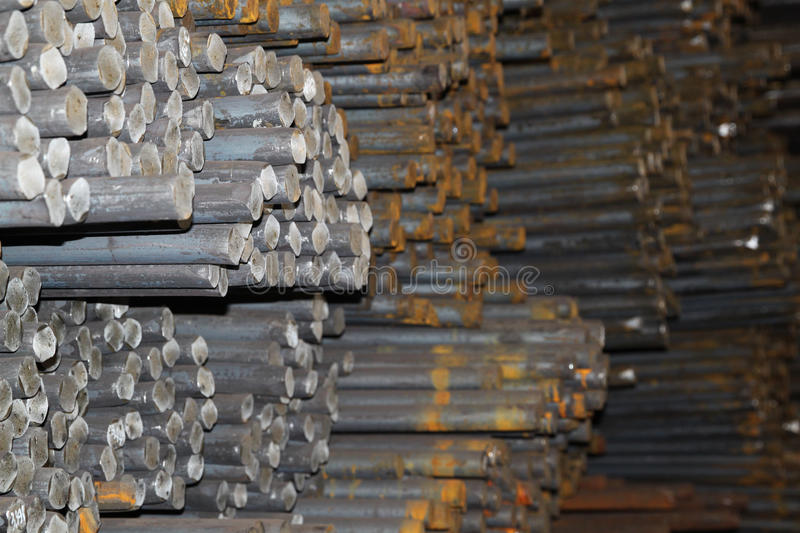 Round billet rods. Round billet in the rod as a basis for future redistribution royalty free stock photography