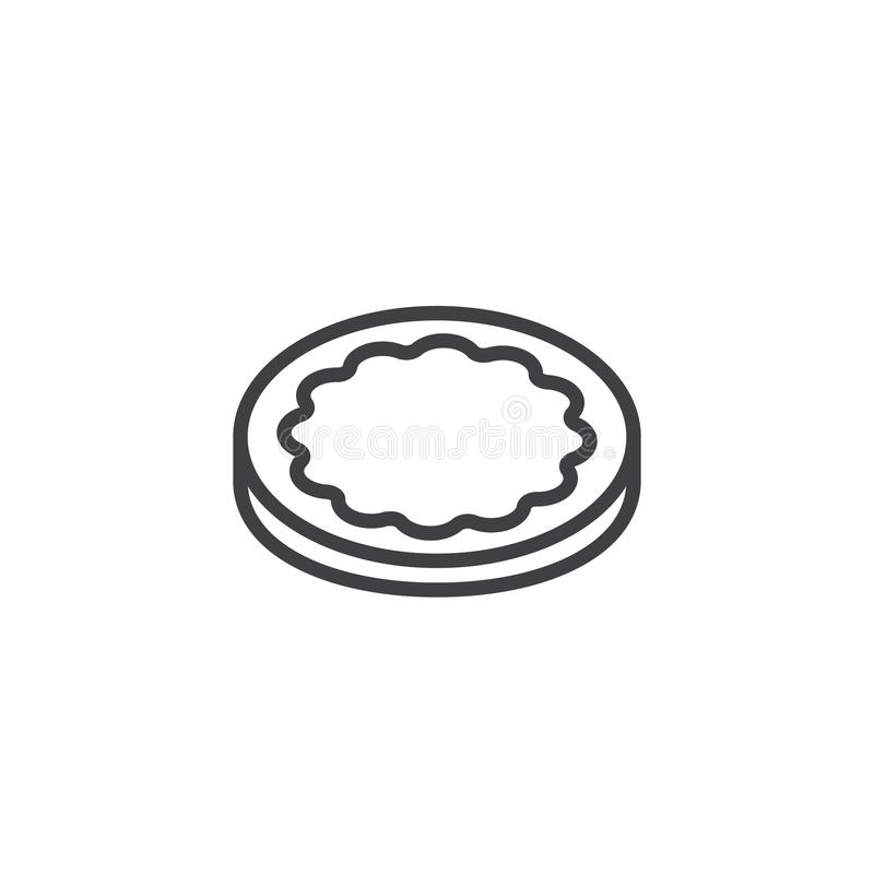 Round biscuit cookies outline icon stock illustration