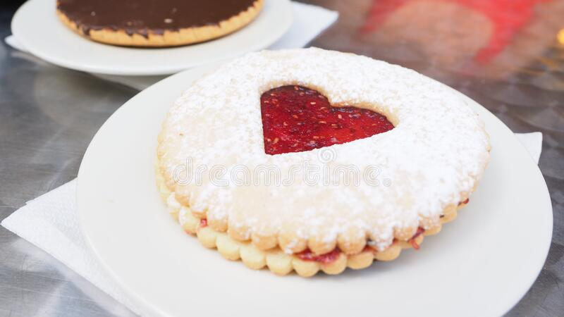 Round Biscuit With Heart Jelly In Center Free Public Domain Cc0 Image