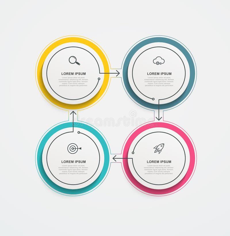 Round biznesowy infographics z ikonami, 4 kroki i opcje lub Wektorowa ilustracja dla prezentacji i raportów royalty ilustracja