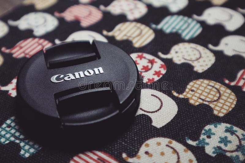 Round Black Canon Lens Cover stock images