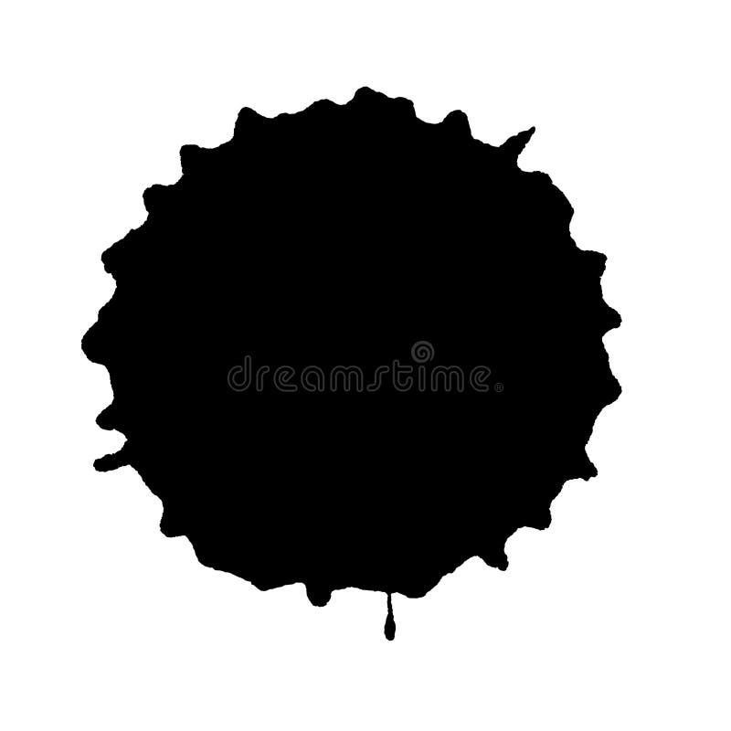 Round black ink blot. Isolated on white background royalty free stock photo