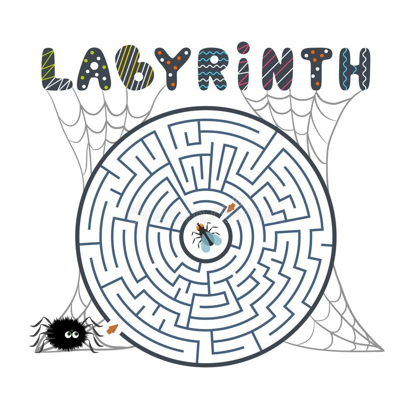 Round black labyrinth with spider, fly and web on white background. Children s maze. Game for kids. Children s puzzle for hallowee stock illustration
