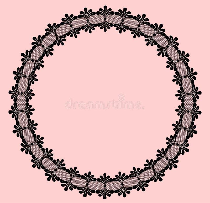 Round black lacy frame stock illustration
