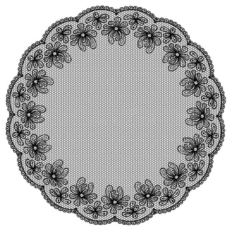 Round black lacy frame vector illustration