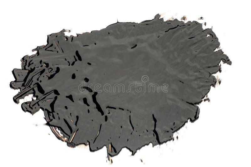 Round black tar blob on a white background. Black tar blob on a white background royalty free stock photo