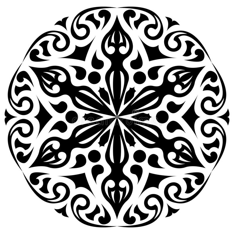 Round black and white ornament. Floral decoration stock illustration
