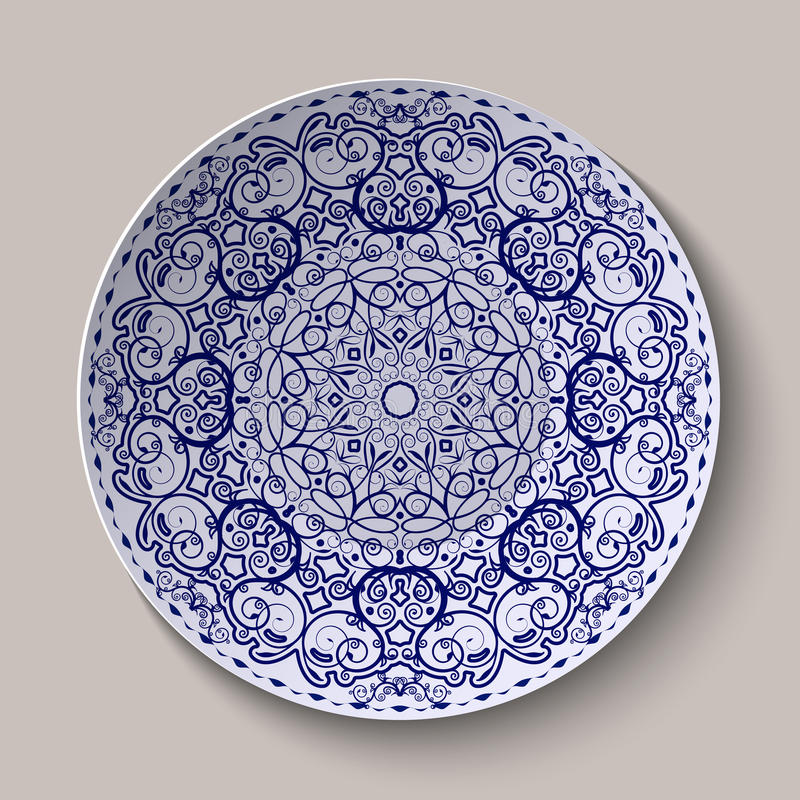 Round blue floral ornament Chinese style painting on porcelain. Pattern shown on the ceramic platter. Vector illustration vector illustration