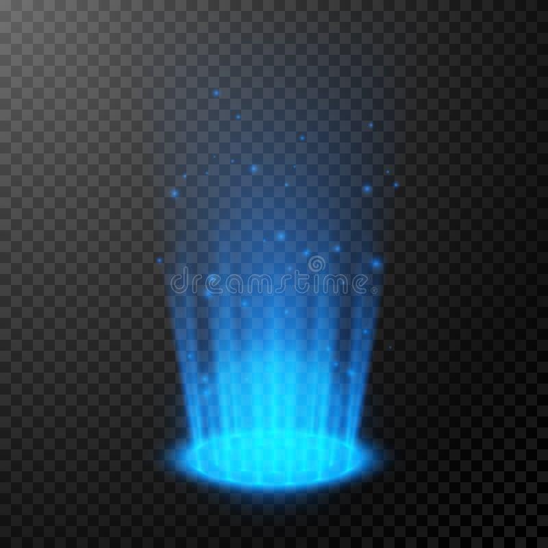 Round blue glow rays. Empty light effect podium. Night scene with sparks. Magic fantasy portal. Futuristic teleport. Vector royalty free illustration