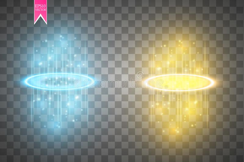 Round blue and gold glow rays night scene with sparks on transparent background. Show party. Beam stage. Magic portal royalty free illustration