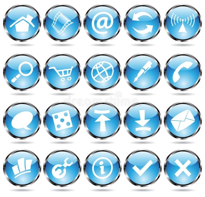Round Blue Icons Stock Photos