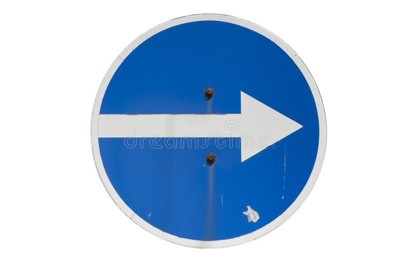 Round blue road sign `Turn Right` isolated on white.  vector illustration