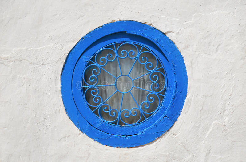 Round blue window scene stock image
