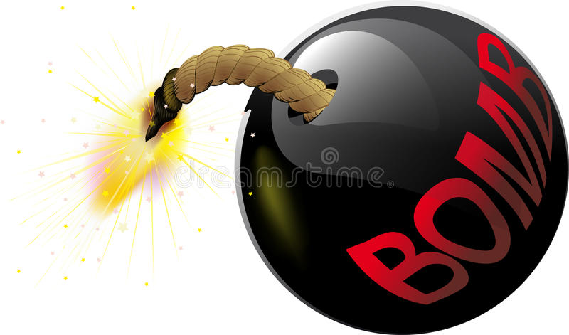 Round bomb with a burning wick vector illustration