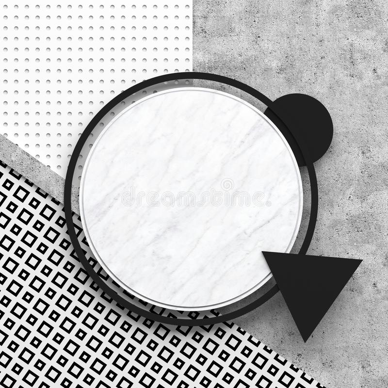 A round border frame on white marble stone and gray concrete surface with a black and white pattern. Copy space. Abstract geometri. C composition. 3D render royalty free illustration