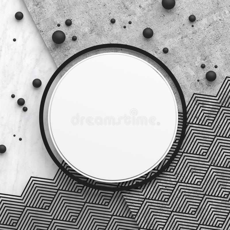 A round border frame on white marble stone and gray concrete surface with a triangular pattern. Copy space. Abstract geometric com. Position. 3D render vector illustration