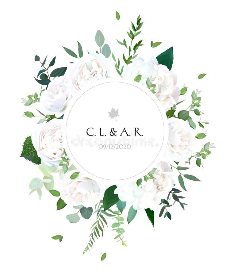 Round botanical vector design frame. White rose, hydrangea, euca royalty free illustration