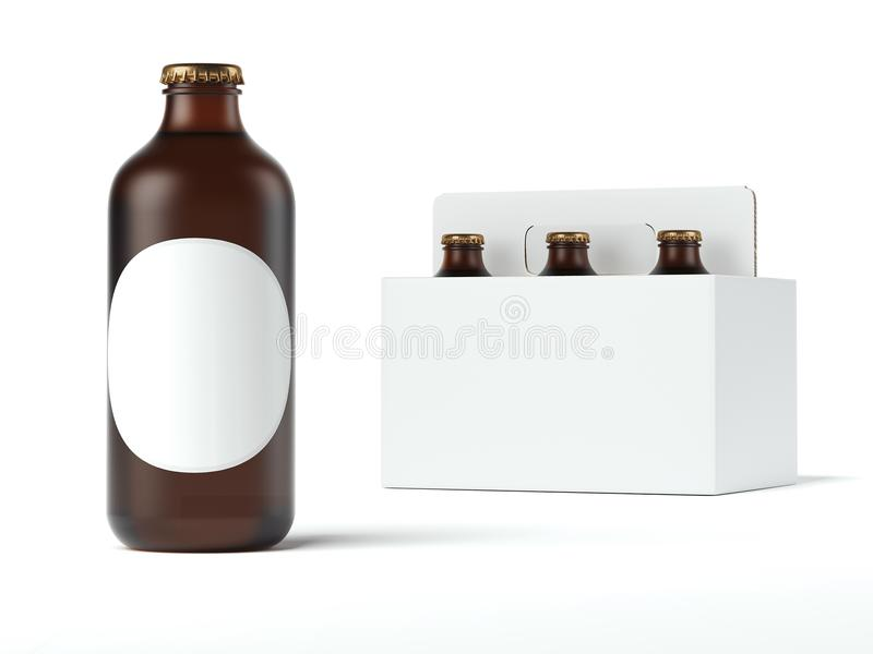 Round bottle with blank label. 3d rendering vector illustration