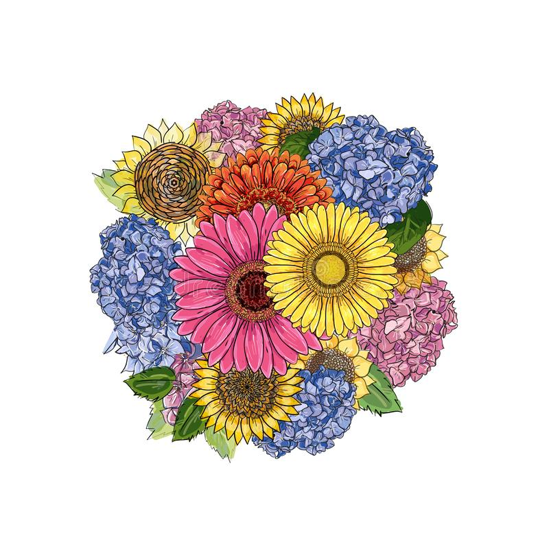 Round bouquet with gerbera, sunflower, hydrangea. Hand-drawn contour lines and strokes. Element for design. Colorful sketch royalty free illustration