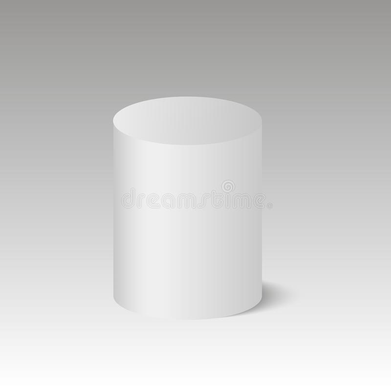 Round box. Cylinder. Barrel. Pedestal. 3D. Vector illustration. Round box. Cylinder. Vector illustration royalty free illustration