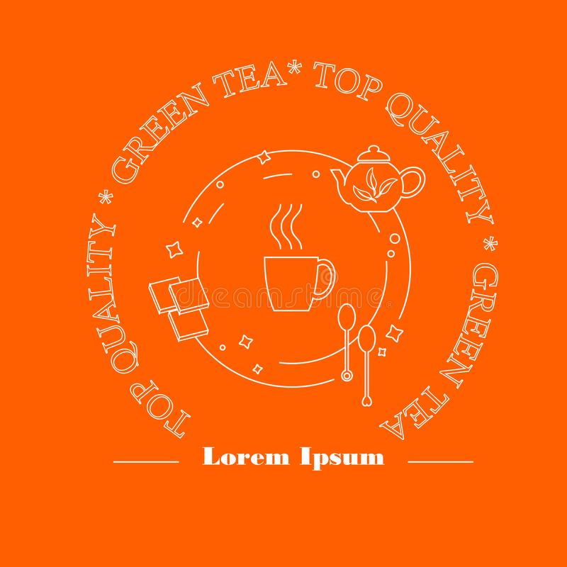 Round brain orange label Green Tea for print, white lines. Perfect design element for advertising, banners royalty free illustration