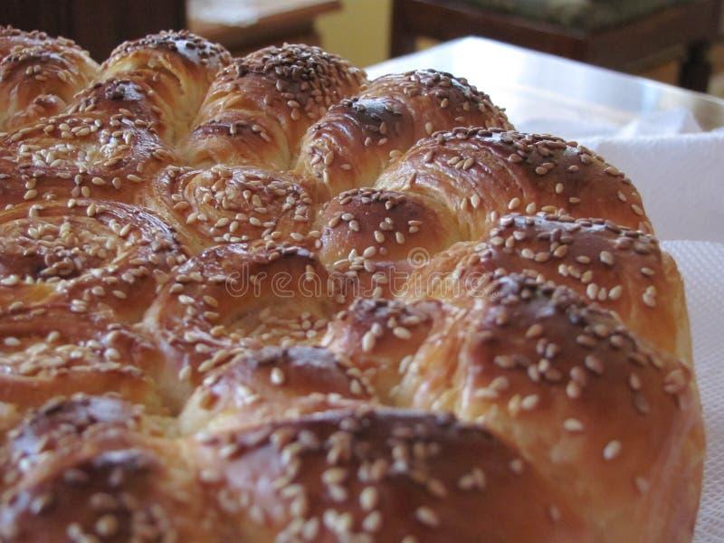 Round bread with sesame stock photos