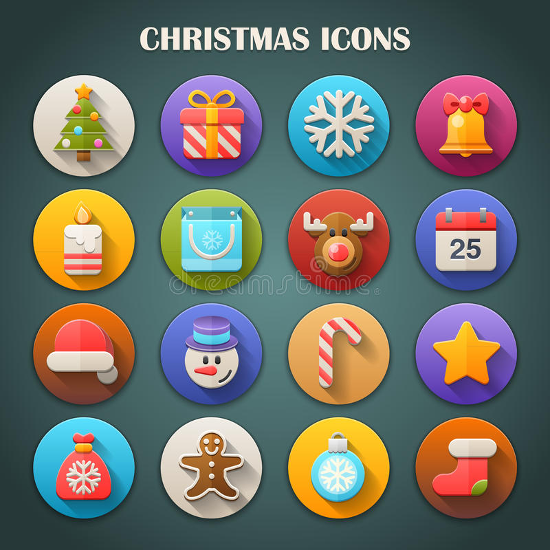 Round Bright Icons with Long Shadow: Christmas stock illustration