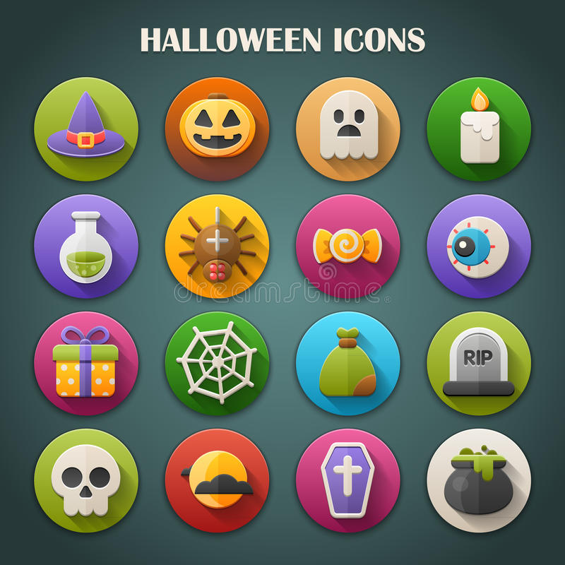 Round Bright Icons with Long Shadow: Halloween. Seasonal icons vector illustration