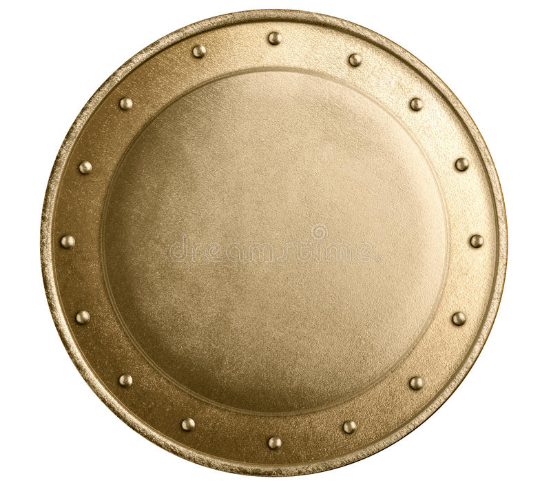 Round bronze metal medieval shield isolated. Round bronze or gold metal medieval shield isolated royalty free stock image