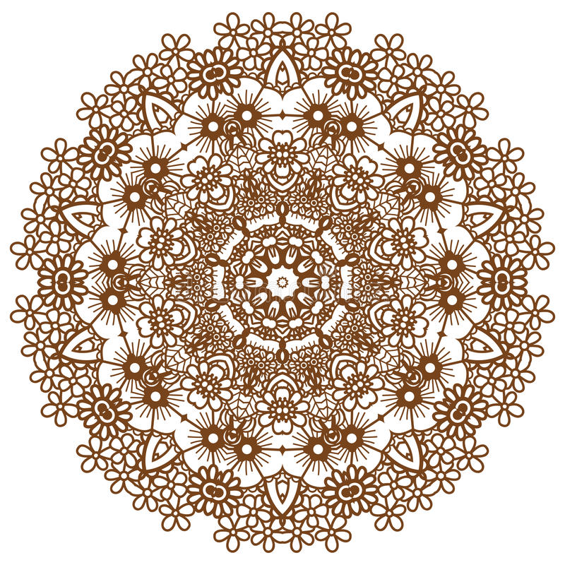 Round brown mandala. Round brown mandala design. Creative vector illustration royalty free illustration