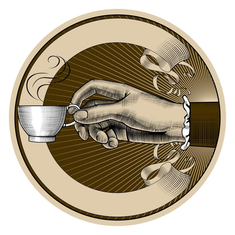 Round brown retro coffee label with ribbon and woman`s hand hold. Round brown retro coffee and tea label with ribbon and woman`s hand holding a white cup stock illustration