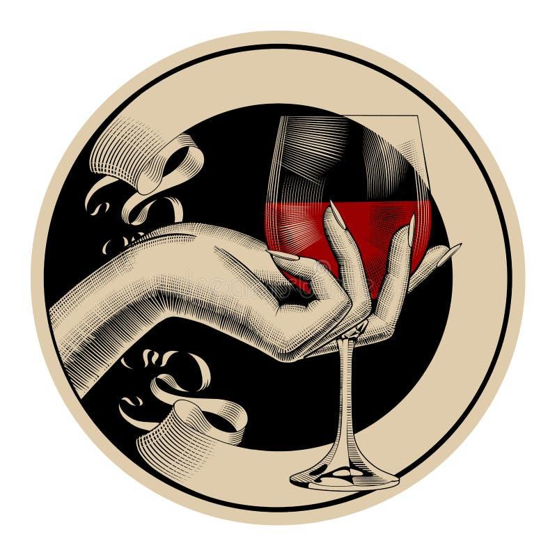 Round brown retro etykietka z faborku i kobiety ` s wręcza trzymać g ilustracji
