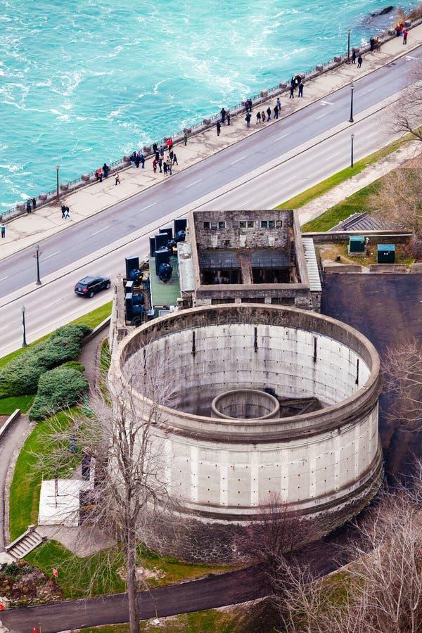 Round building. Niagara Falls. Sidewalk. royalty free stock image