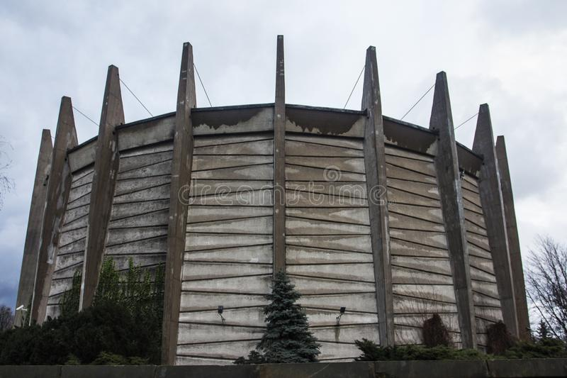 Round building of The Raclawice Panorama in Wroclaw in cloudy weather. Poland.  royalty free stock photo