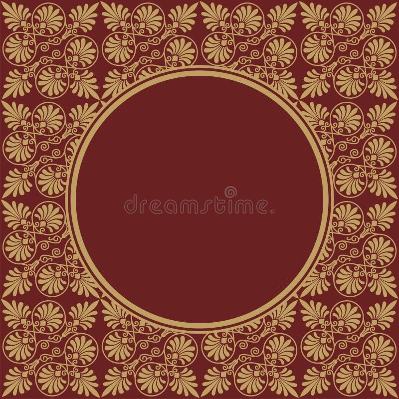 Round Burgundy rama na bezszwowej teksturze z Greckim ornamentem ilustracji
