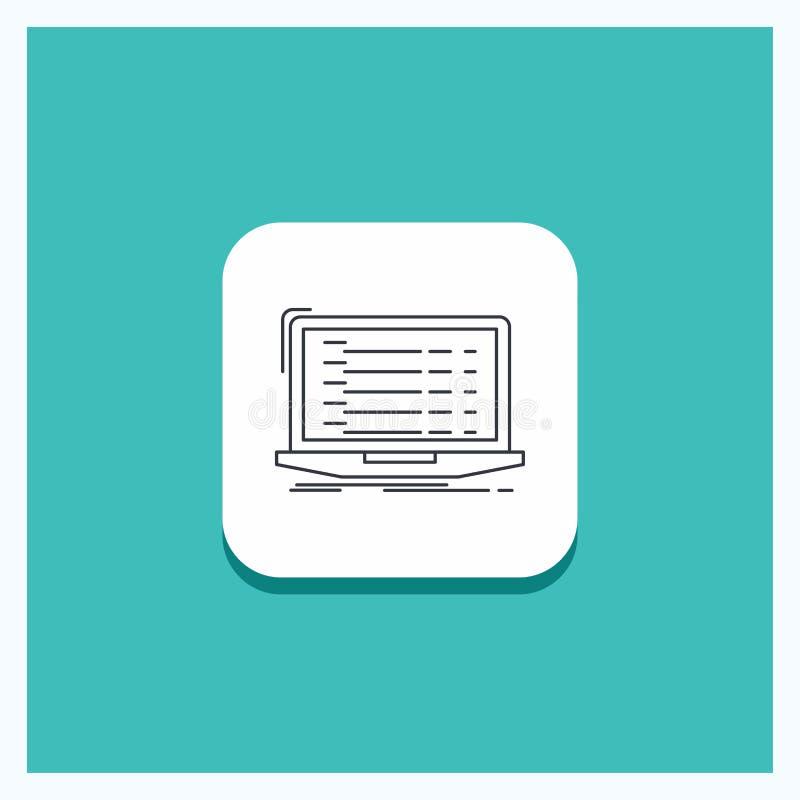 Round Button for Api, app, coding, developer, laptop Line icon Turquoise Background vector illustration