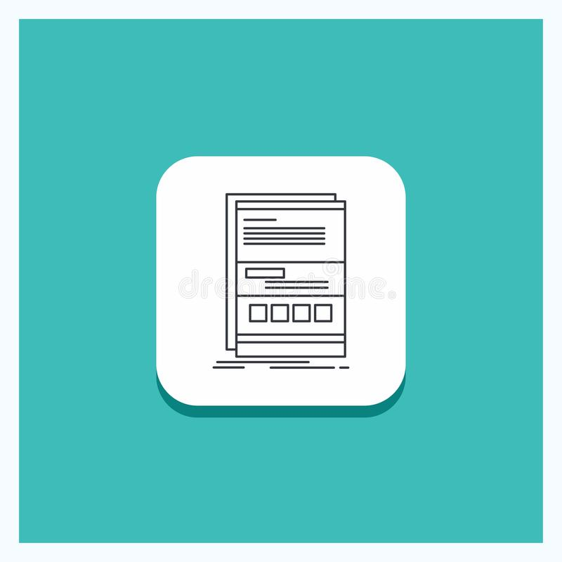 Round Button for Browser, dynamic, internet, page, responsive Line icon Turquoise Background vector illustration