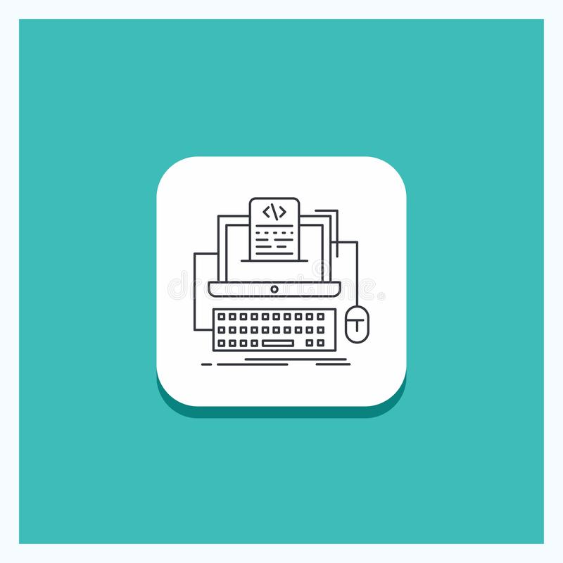 Round Button for Code, coding, computer, monoblock, screen Line icon Turquoise Background. Vector EPS10 Abstract Template background royalty free illustration