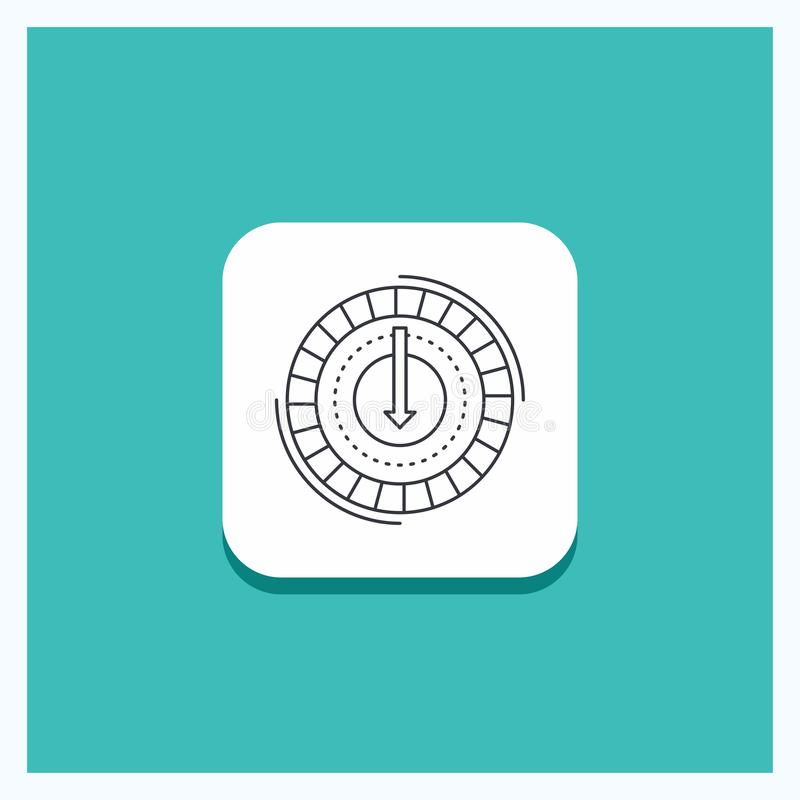 Round Button for Consumption, cost, expense, lower, reduce Line icon Turquoise Background. Vector EPS10 Abstract Template background royalty free illustration