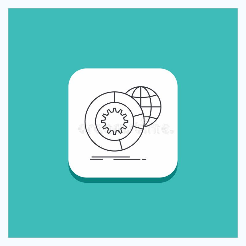 Round Button for data, big data, analysis, globe, services Line icon Turquoise Background stock illustration