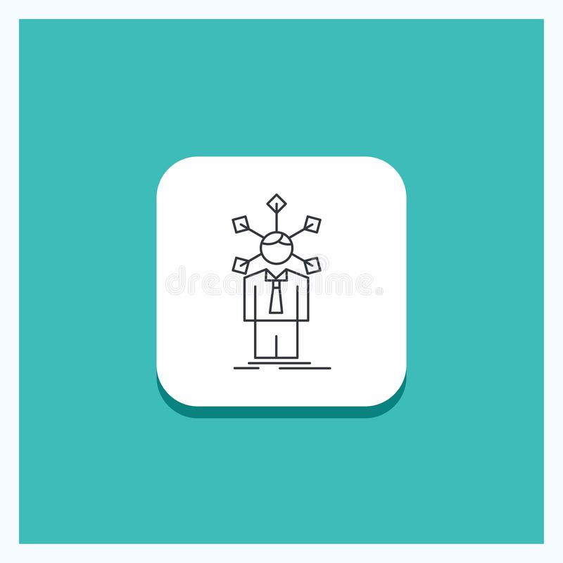 Round Button for development, human, network, personality, self Line icon Turquoise Background. Vector EPS10 Abstract Template background royalty free illustration