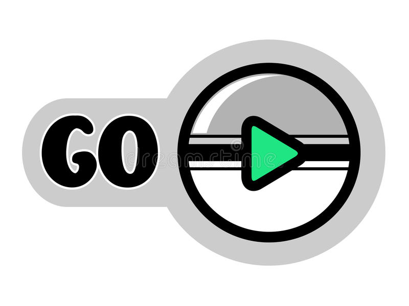 Round button for go playing game or icon for play video. Grey, white and green color. vector illustration