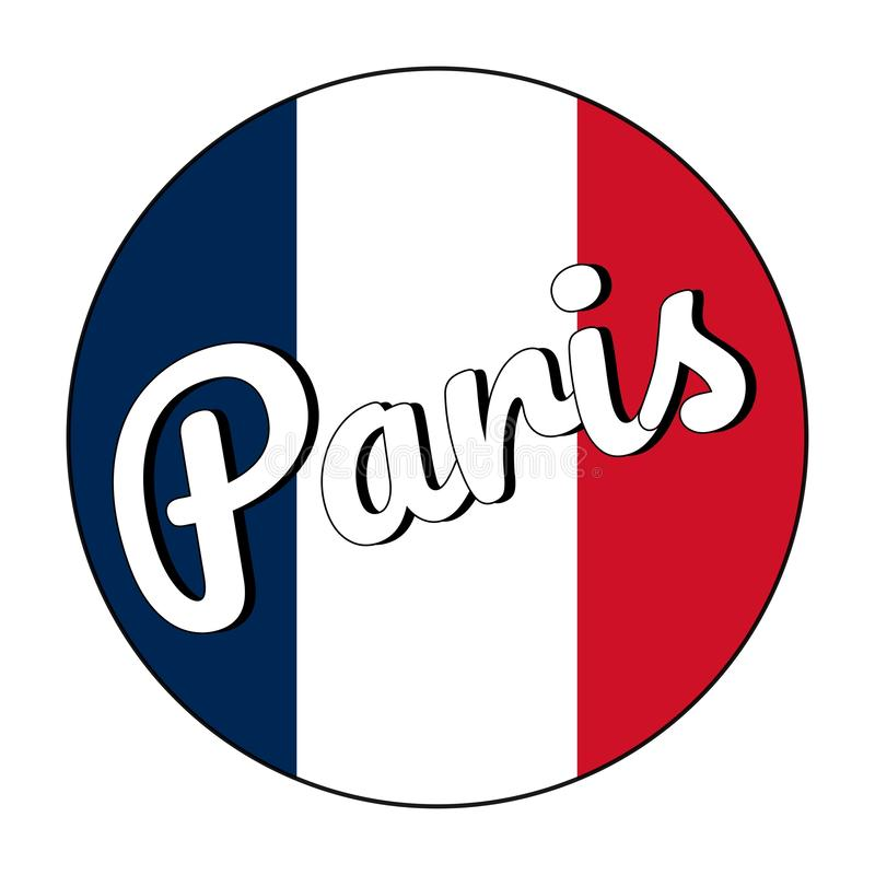 Round button Icon of national flag of France with red, white and blue colors and inscription of city name: Paris in vector illustration