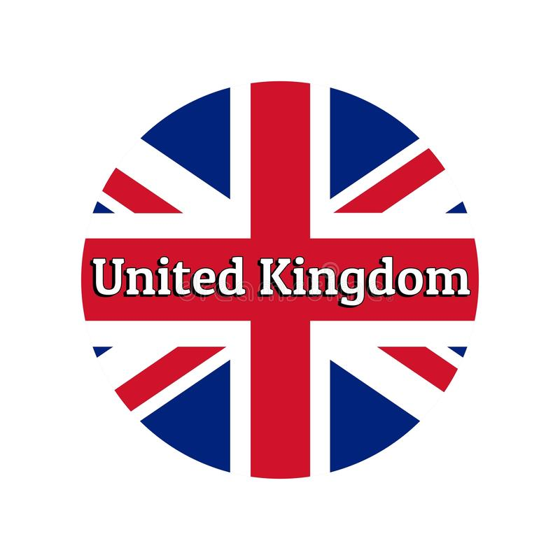 Round button Icon of national flag of United Kingdom of Great Britain. Union Jack on the white background with. Inscription for logo, banner, t-shirt print vector illustration