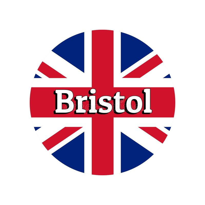 Round button Icon of national flag of United Kingdom of Great Britain. Union Jack on the white background with lettering. Of city name Bristol. Inscription for royalty free illustration