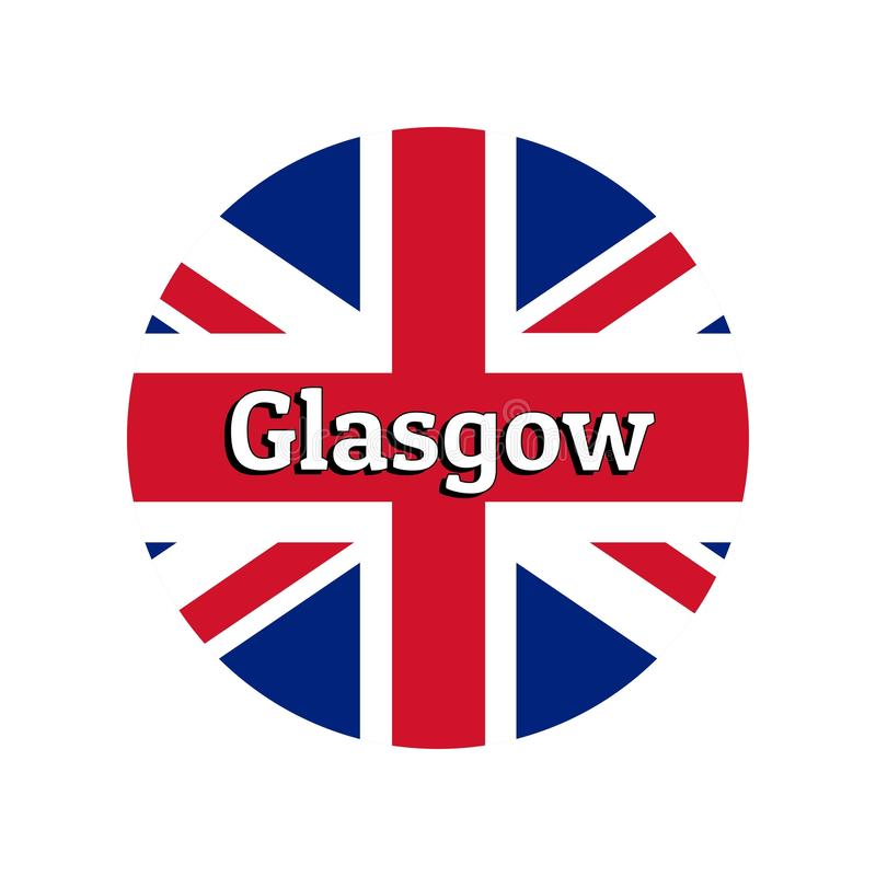 Round button Icon of national flag of United Kingdom of Great Britain. Union Jack on the white background with lettering. Of city name Glasgow. Inscription for royalty free illustration