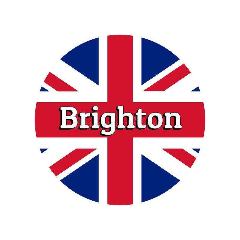 Round button Icon of national flag of United Kingdom of Great Britain. Union Jack on the white background with lettering. Of city name Brighton. Inscription for royalty free illustration