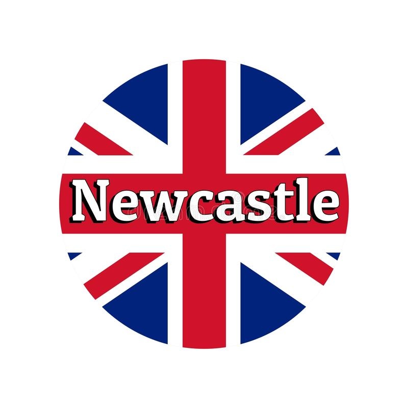Round button Icon of national flag of United Kingdom of Great Britain. Union Jack on the white background with lettering. Of city name Newcastle. Inscription stock illustration