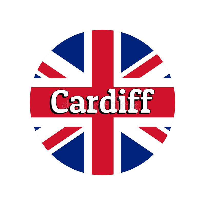 Round button Icon of national flag of United Kingdom of Great Britain. Union Jack on the white background with lettering. Of city name Cardiff. Inscription for royalty free illustration